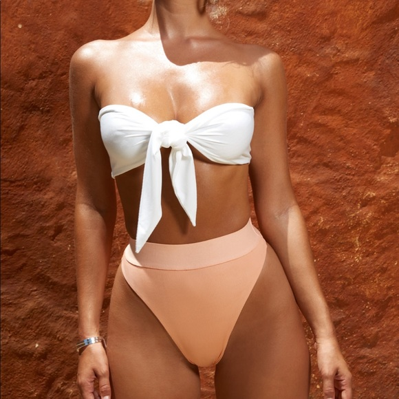 422dcf33d BOW ME AWAY BANDEAU TOP HIGH WAISTED RIBBED BOTTOM